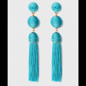 🌷SUGARFIX MONOCHROME AQUA TASSEL DROP EARRINGS